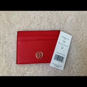 NWT TORY BURCH ROBINSON CARD CASE IN BRILLIANT RED